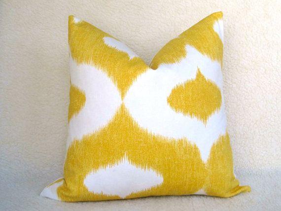 yellow + white pillow