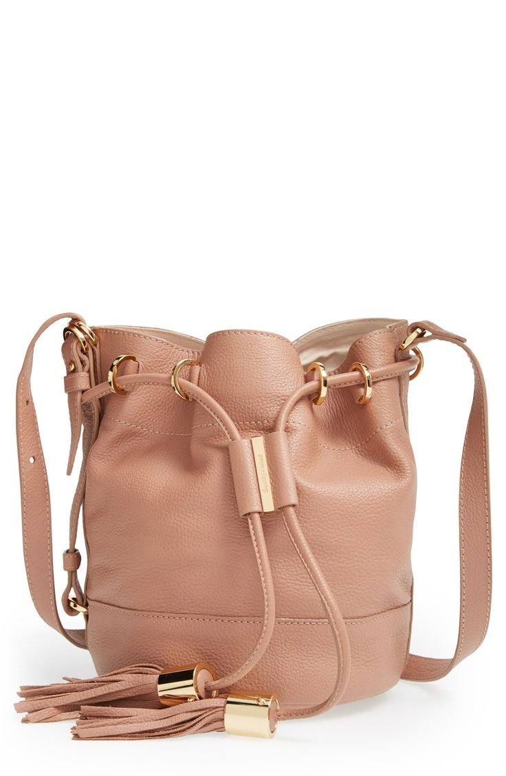 This dusty pink leather bucket bag is très chic | See by Chloé. #nordstrom