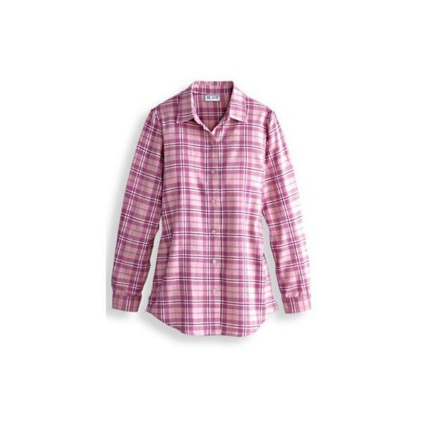 Blair Brushed Cotton Flannel Shirt ($22) ❤ liked on Polyvore featuring tops, pink, floral print top, purple plaid shirt, pleated shirt, plaid flannel shirt and purple top