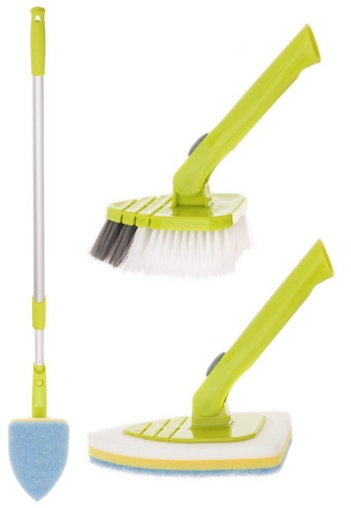 """Pure Care Tile and Tub Brush and Scrubber Set with Extension Pole Telescopes from 34"""" to 51.5"""""""