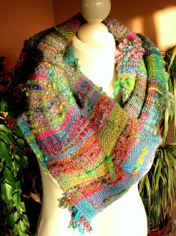 Hand woven wool Saori scarf made of handspun art yarn.Woven art yarn.Soft wool large scarf.Multicolored womens scarf.Natural wool shawl.