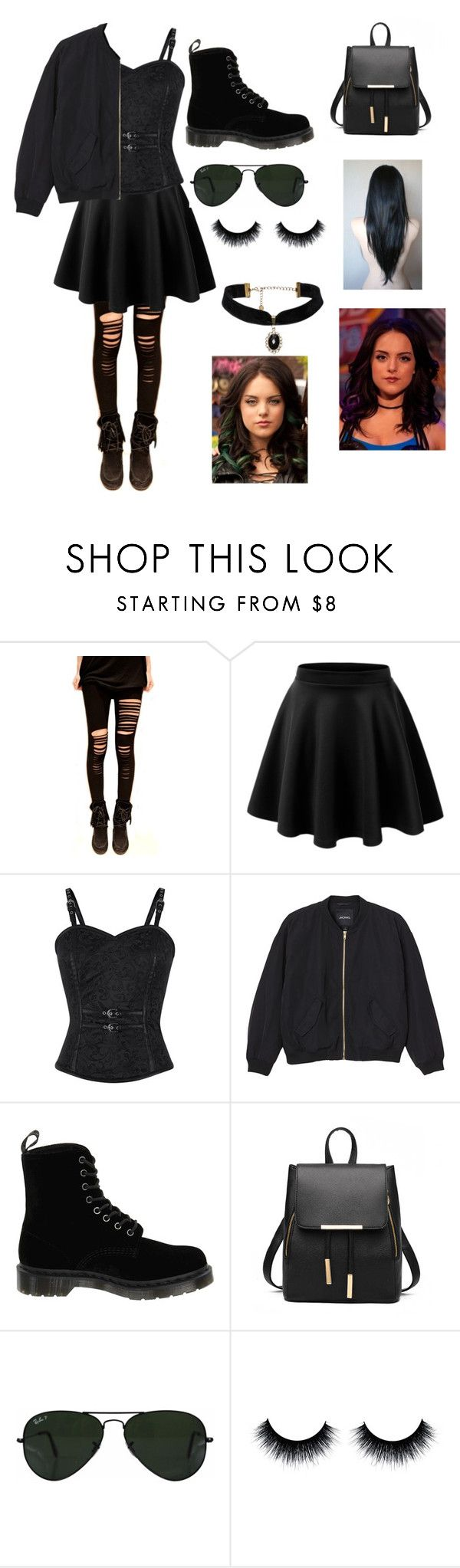 """Get The Look: Victorious Jade West"" by jumpingjb ❤ liked on Polyvore featuring Monki, Dr. Martens and Ray-Ban"