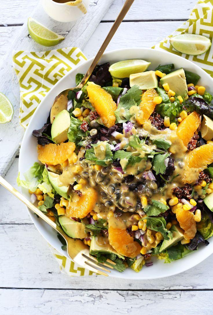 HEALTHY Vegan Mexican Quinoa Salad with Black Beans, Corn, Avocado and a Creamy Orange Chili Dressing! #vegan