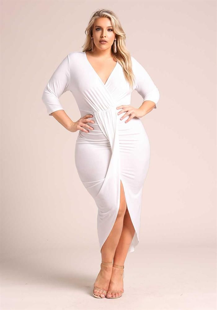 Plus Size Clothing | Plus Size Draped Layered Slit Maxi ...