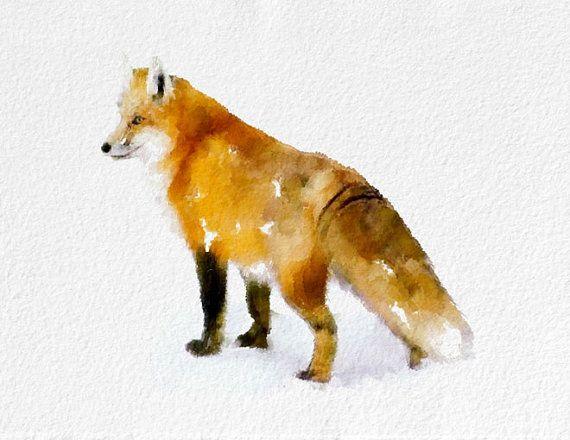 Fox Art Print  Fox Illustration Fox Picture Animal black orange white brown Home Decor Wall Decor Kitchen Decor Beach Decor
