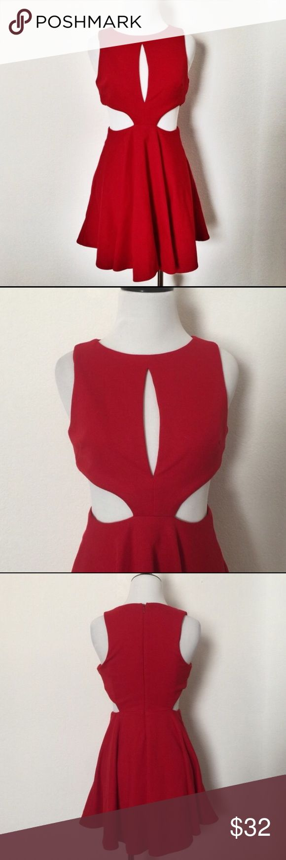 ASOS Cutout Red Dress NWOT; never worn. Reposhing this beautiful and sexy ASOS cutout red dress. Fit just a tad too large on me, unfortunately. Perfect for a date night or a night out with the girls! Trying to earn what I paid for! ASOS Petite Dresses Midi