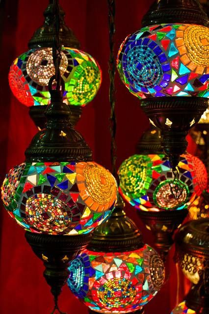 Amazing stained glass in these Turkish lamps!