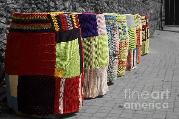 Some rain barrels that got yarn bombed at Discovery Harbour.