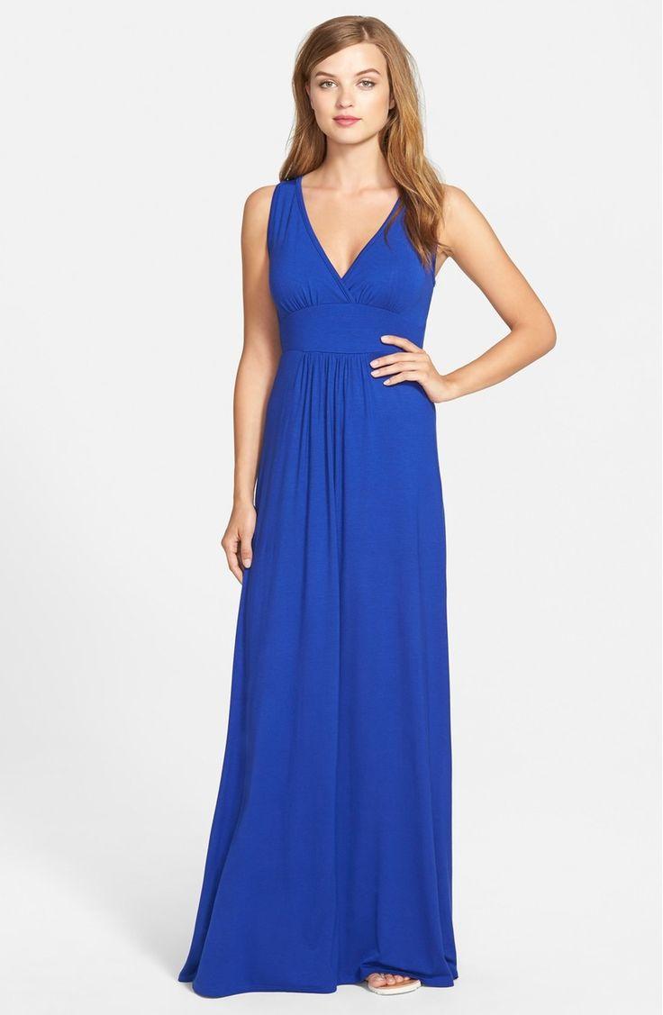 Main Image - Loveappella V-Neck Jersey Maxi Dress (Regular & Petite)