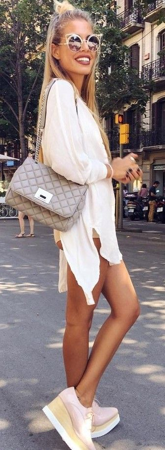 #summer #trending #outfits | White Long Shirt + Platform Sneakers