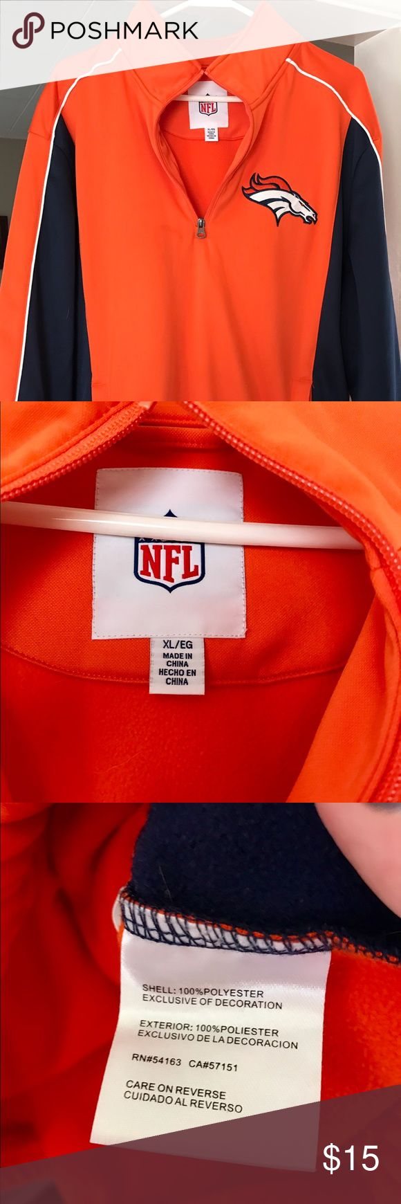 NFL Broncos Men's Pullover Sweater- XL NFL Broncos Pullover half zip. Men's size:XL. Has been worn a few times and is in great condition. No stains, tears or rips. Fleece lined. NFL Sweaters Zip Up