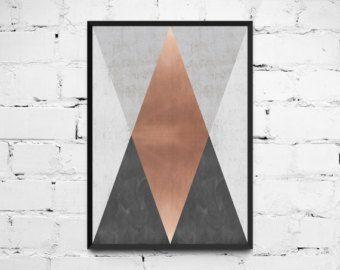 Dreiecke-Print geometrischer geometrische Print von ANXUK auf Etsy