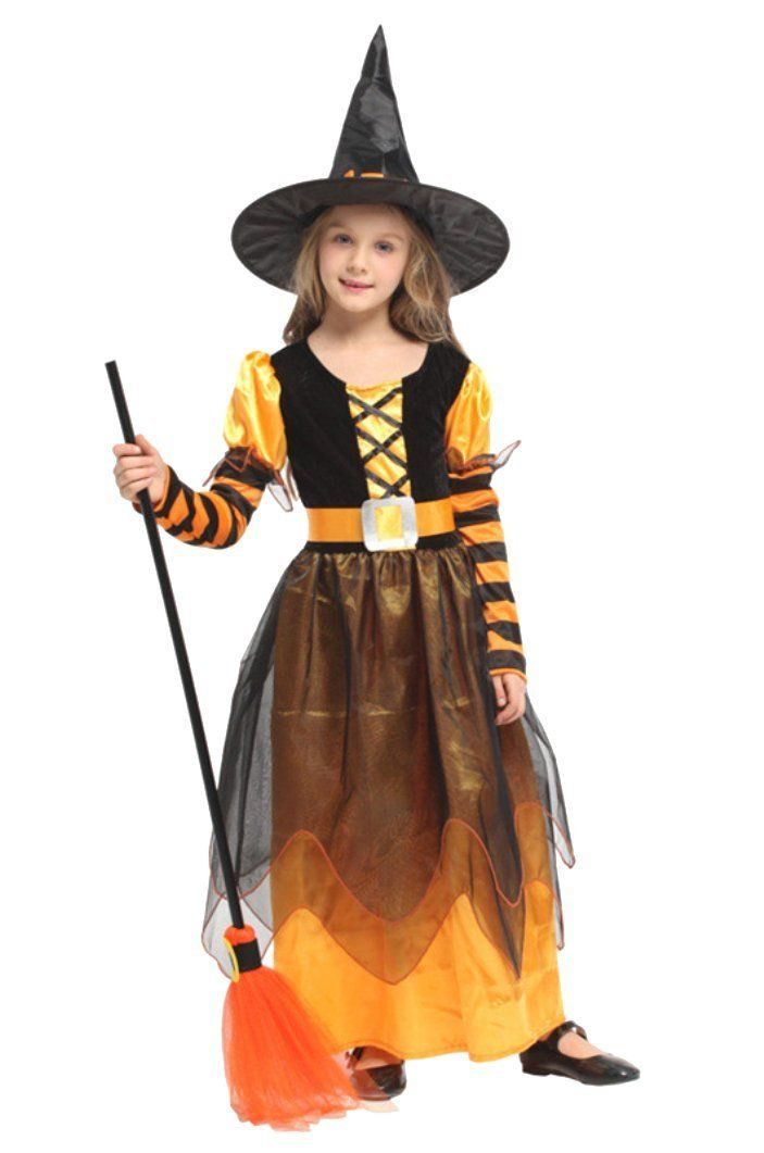 Girls Pretty Orange Witch /& Hat Halloween Fancy Dress Costume