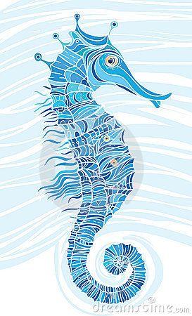 Blue Mosaic Seahorse