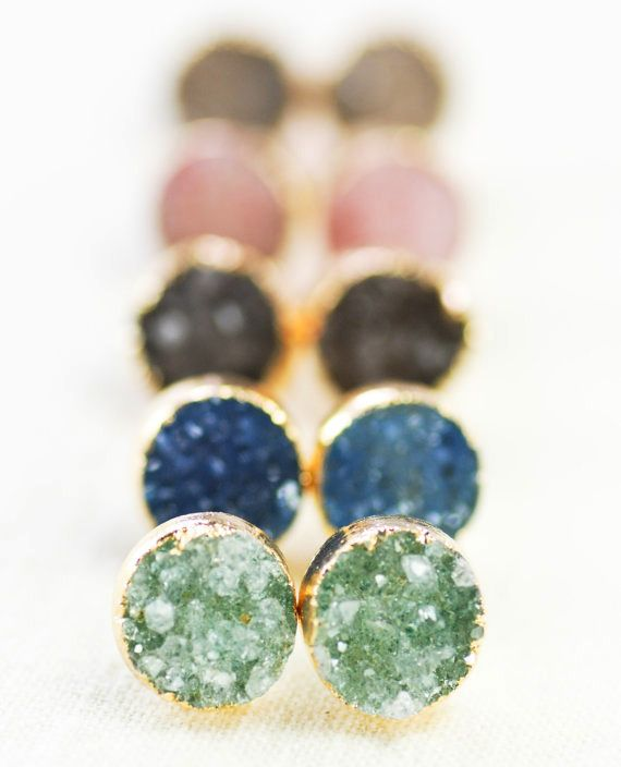 Our jewelry are eco-friendly and handcrafted - all natural stones, 24k gold plating which are lead and nickel free. We are having a flash sale on the Druzy Agate Ear Studs - $27 only! Order yours now!