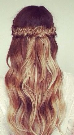 Omber wavy half up half down fishtail braid #gorgeoushair