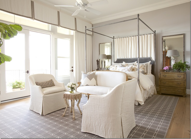 grey bedroom: Cornices Boards, French Doors, Bedrooms Design, Interiors Design, Design Bedrooms, Master Bedrooms, Canopies Beds, Transom Window, Gray Wall
