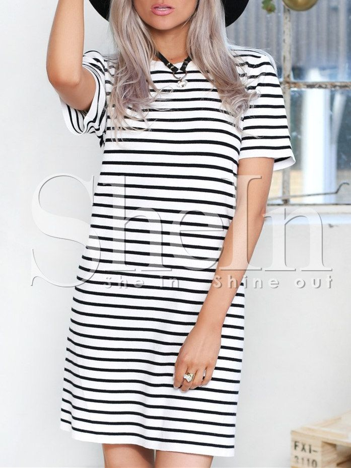 Shop White Short Sleeve Striped T-Shirt Dress online. SheIn offers White Short Sleeve Striped T-Shirt Dress & more to fit your fashionable needs.