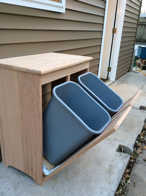 UNFINISHED side by side recycle and trash bin by davwoodshed