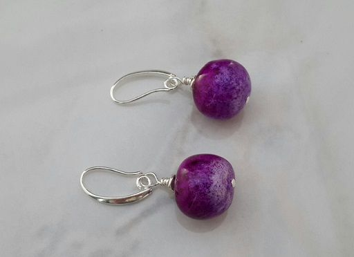 Multi layered polymer clay 'berries' earrings in purple - Hand made - One pair only