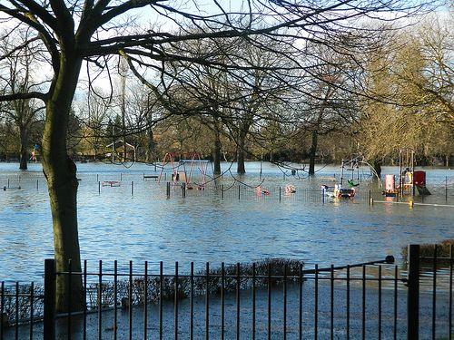 A Very Flooded Lammas Park in Staines.