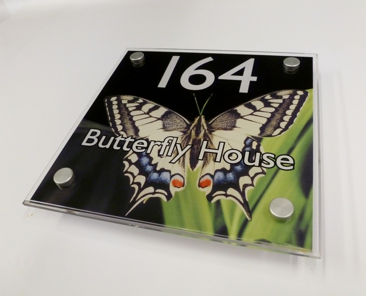 a delightful butterfly house sign... personalised house signs unique to you from www.de-signage.com