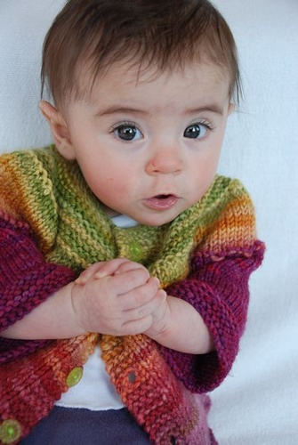 handspun sweater - too focused on the incredibly cute baby to look at the sweater until after I scrolled down from the wee thing.