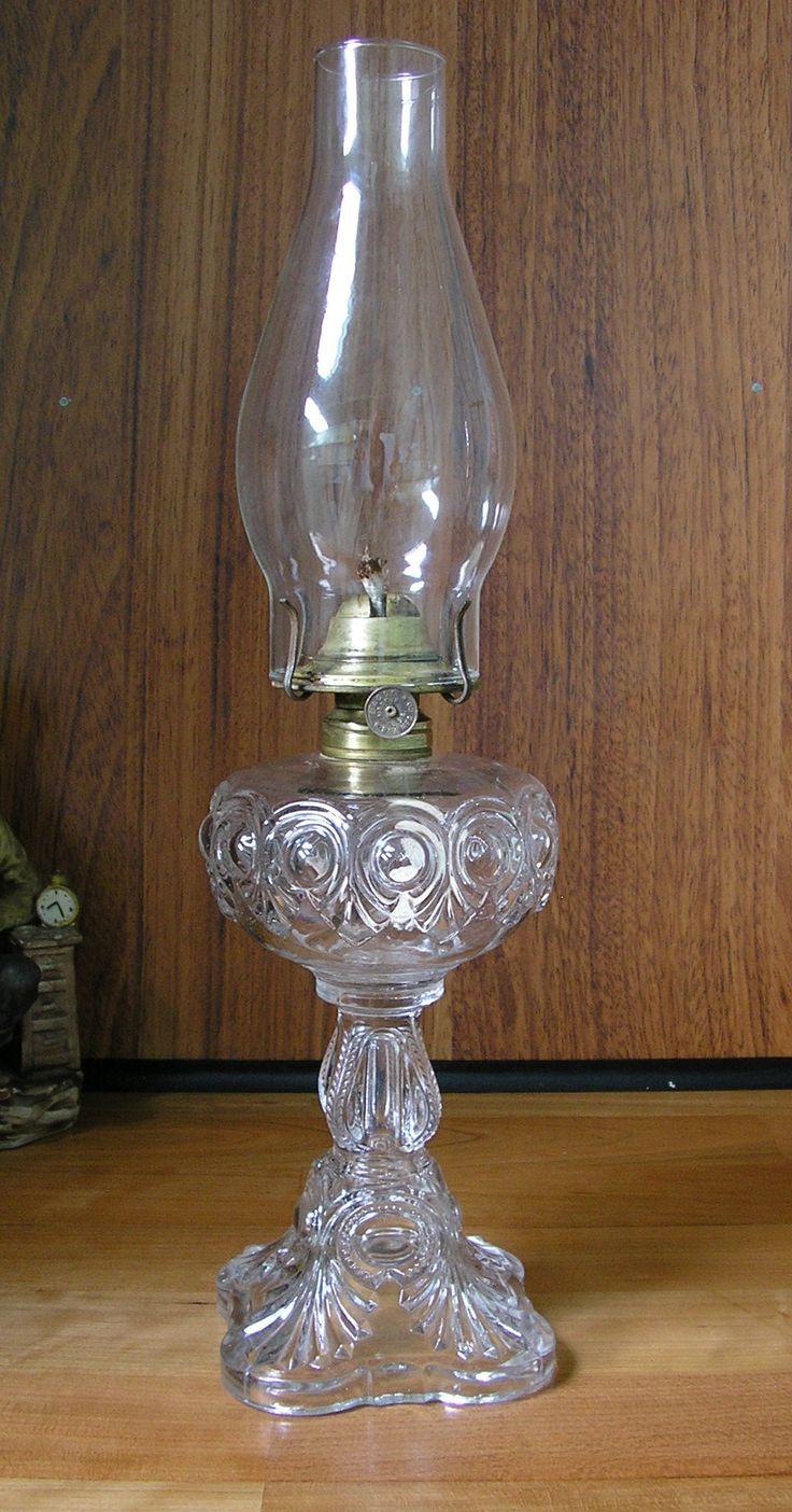 Clear Glass Bullseye Fine Detail Oil Lamp Kerosene Lamp