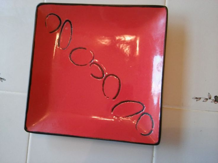 "Contempoary Orange Plate FLIRT by R & B  Black Swirls 8"" x 8"" No Chips or Cracks #Flirt"