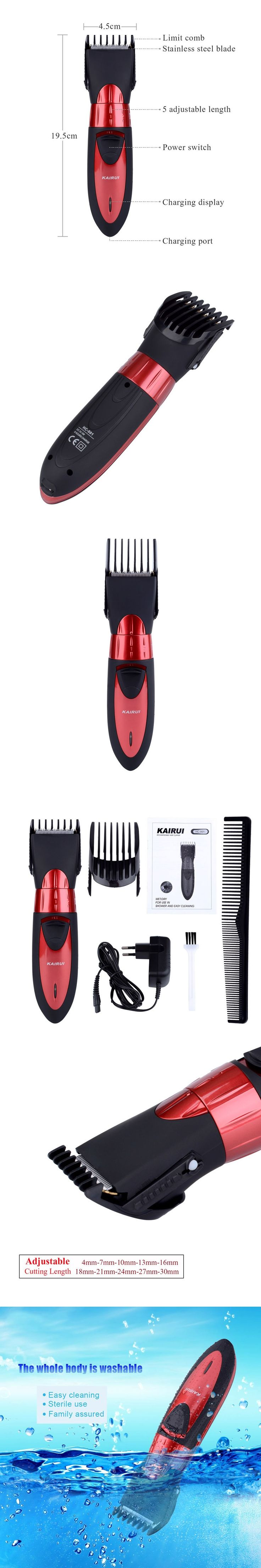 Professional Waterproof Electric Hair Clipper Rechargeable Hair Trimmer 220-240V Beard Trimmer Cutting Machine Men Haircut