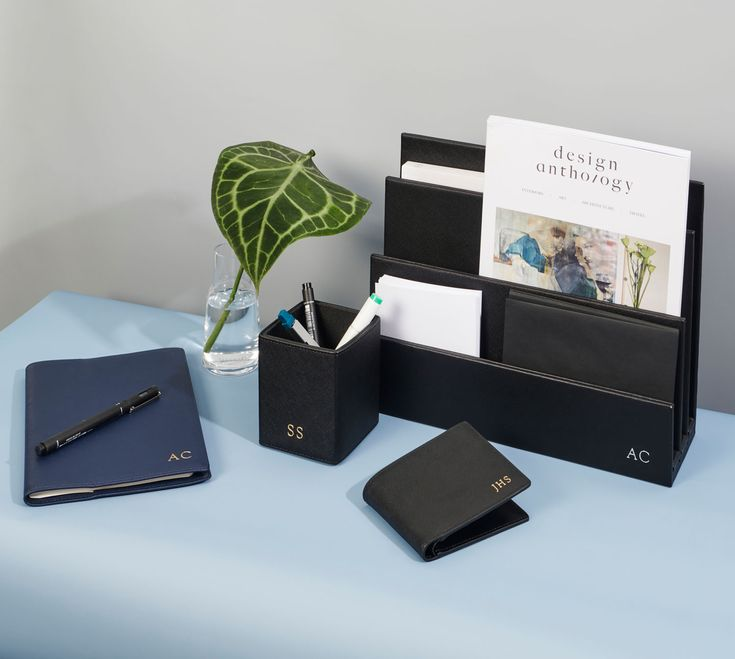 The Daily Edited personalised leather desk accessories.