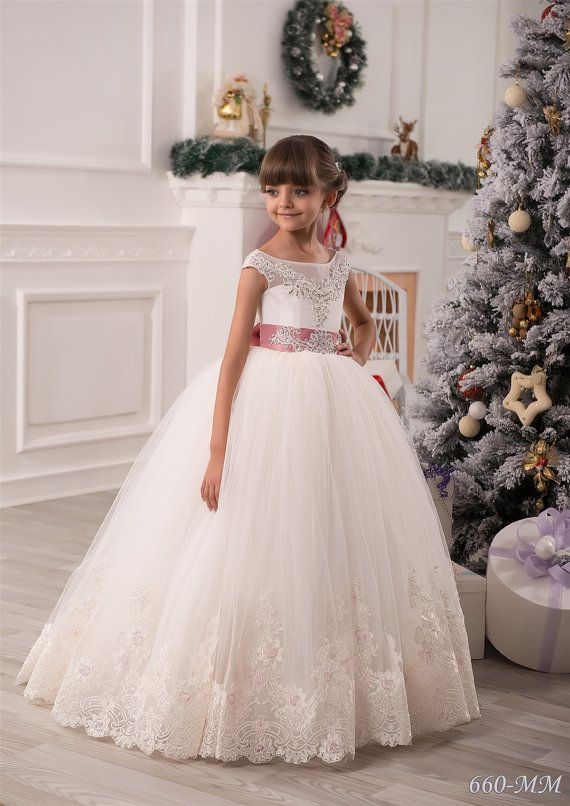 Marfil flores vestido de niña Junior Dama de por KingdomBoutiqueUA
