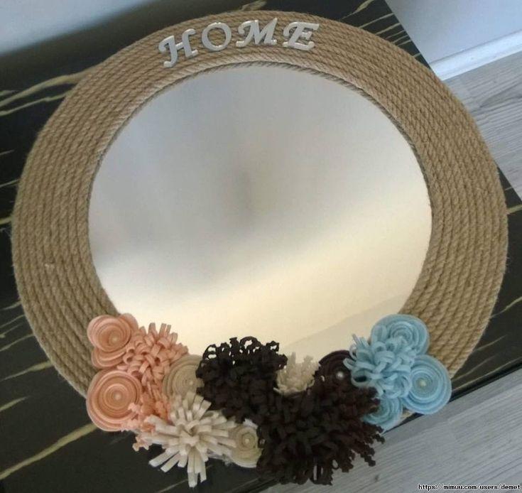 Dekoratif Ayna ,  #aynamodelleri #elişiayna #halatipayna , Halat ip ve keçe çiçeklerle süslenmiş el yapımı tasarım bir üründür. Evinizin her köşesinde keyifle kullanabilirsiniz. Şık ve tarz bir...