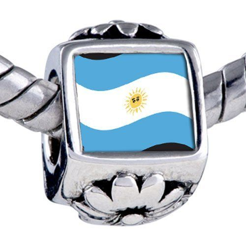 Pugster Bead Argentina Flag Beads Fits Pandora Bracelet Pugster. $12.49. Unthreaded European story bracelet design. Hole size is approximately 4.8 to 5mm. It's the photo on the flower charm. Bracelet sold separately. Fit Pandora, Biagi, and Chamilia Charm Bead Bracelets