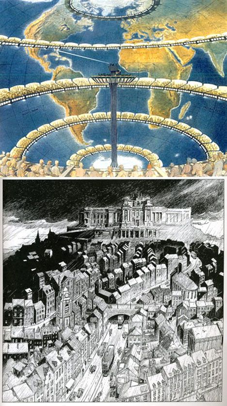 Working in the comics world, Schuiten can create entire cities without limit.