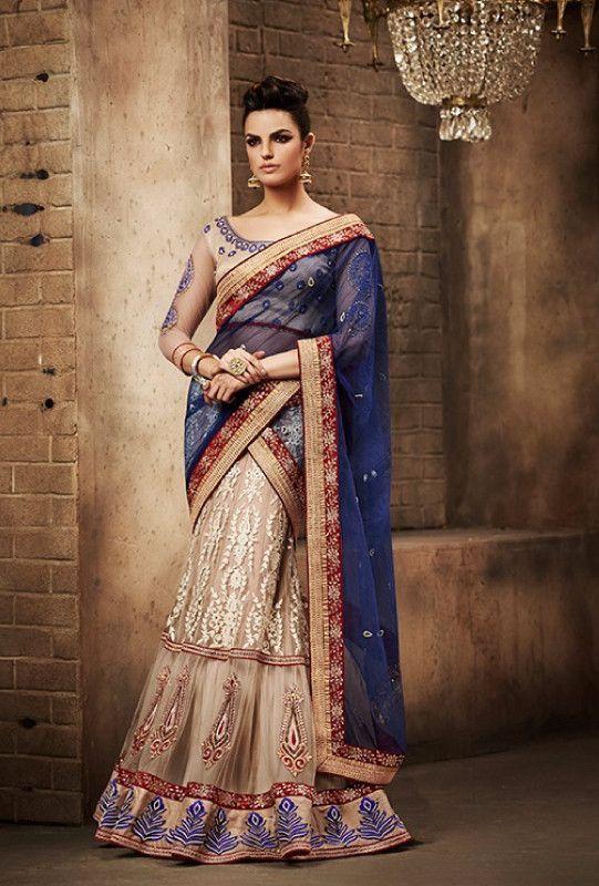 Beige Designer Saree - Desi Royale