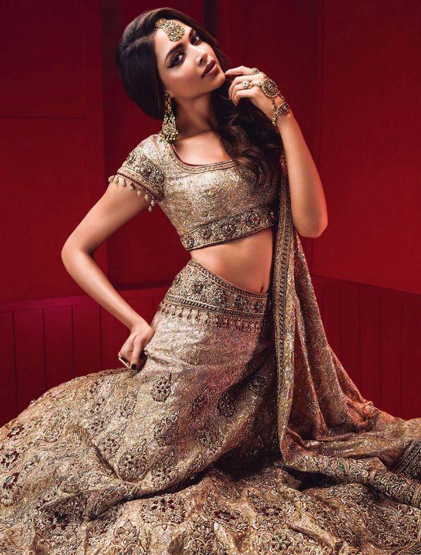 Deepika Padukone Vogue India Bollywood Actress Tarun Tahiliani Indian Couture Lehenga Bridal Lehenga Plum Lips