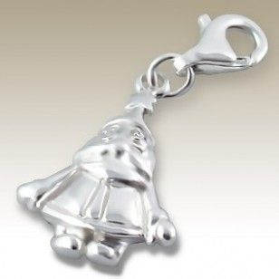 alisilverjewellery.com Santa claus charm with lobster - finishing: Sterling silver+E-coat - size: 1.1x1.5cm.