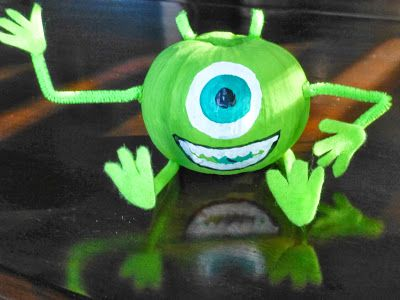 Mike Wazowski, Monsters Inc, Halloween, Craft, DIY, painted pumpkin