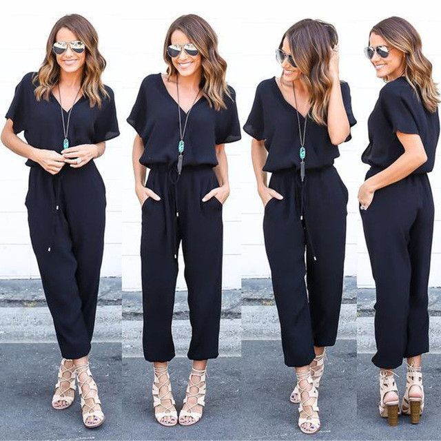 YEJIA FASHION Short Sleeve Office Rompers Womens Jumpsuit Summer V-Neck Tied Waist Sexy Party Playsuit 2017 Overalls Pockets
