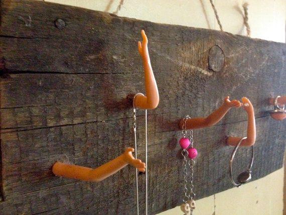 Barbie jewelry organizer, Recycled Barbie key-rack, Barbie towel-rack on Etsy, €35.00