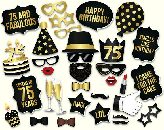 PLEASE NOTE: this is a DIGITAL DOWNLOAD, NO PHYSICAL ITEM WILL BE SHIPPED, you will get printable 75th Birthday photo booth props (PDF file)  These