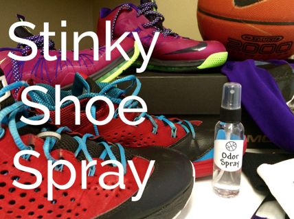 Stinky Shoe Spray ~ Only two ingredients,  Vodka and Tea Tree Oil.  Just spray shoes after each use - the vodka will kill the bacteria and tea tree oil is both antibacterial and antifungal, helping to prevent new growth. If used regularly, this spray can work wonders in fighting odor! You can also spray it directly on your feet prior to slipping on your shoes!  Recipe for a powder is also here.
