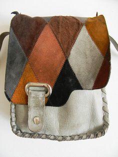 Vintage Harlequin Leather Patchwork Crossbody Bag. $64.00, via Etsy.