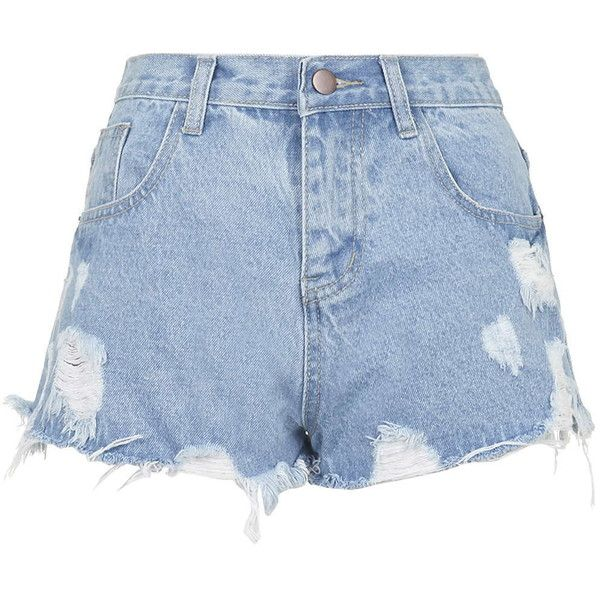 TOPSHOP **Kyoto Ripped Denim Shorts by Jovonna ($27) ❤ liked on Polyvore featuring shorts, bottoms, short, blue, distressed jean shorts, blue jean shorts, high rise denim shorts, short jean shorts and high-waisted shorts