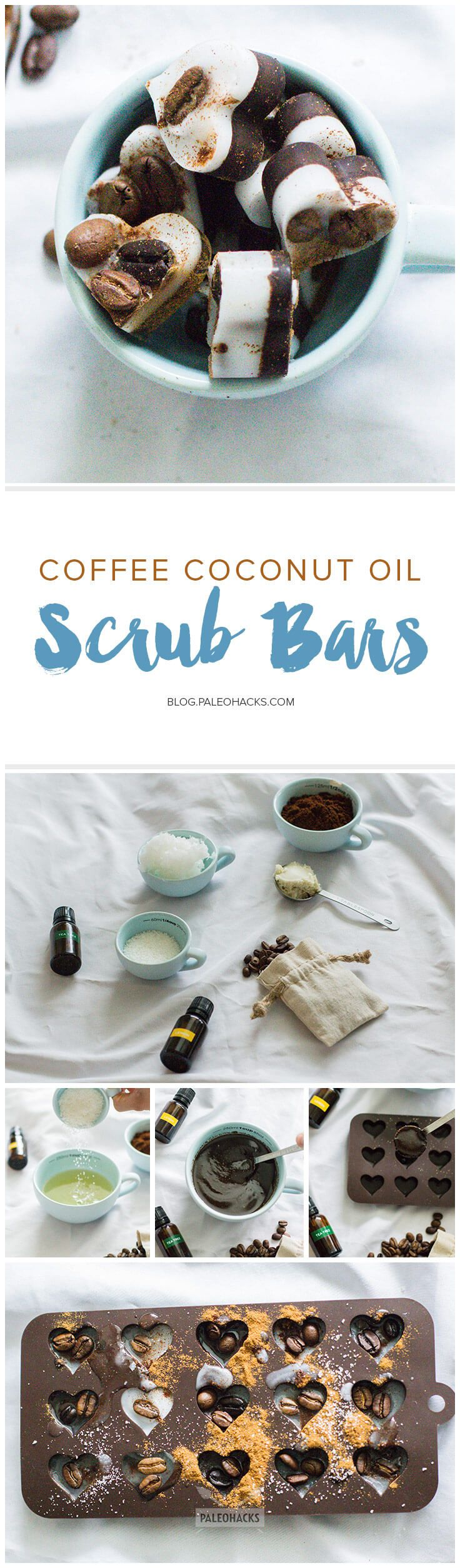 Gently exfoliate dull, tired skin with these mini scrub bars made from coffee and moisturizing coconut oil. Get the recipe here: http://paleo.co/CocoScrubBars