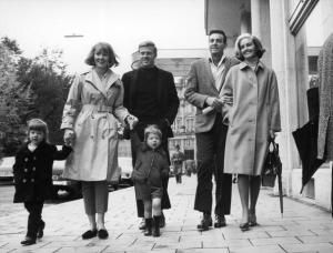 Get the Scoop on Robert Redford's Marriage to Sibylle Szaggars: Robert Redford and Lola van Wagenen with their children Shauna and James circa 1965. Mike Connors and his wife Mary Lou are also pictured.