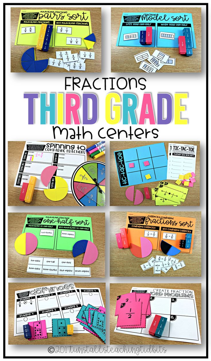 Third grade math centers on fractions.