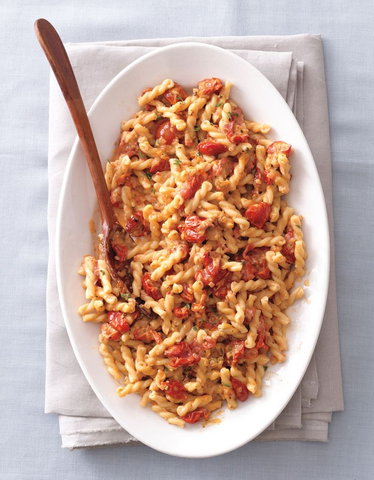 Serve This Creamy Gemelli Pasta with Cherry Tomatoes atYour Next Fall Fête from InStyle.com