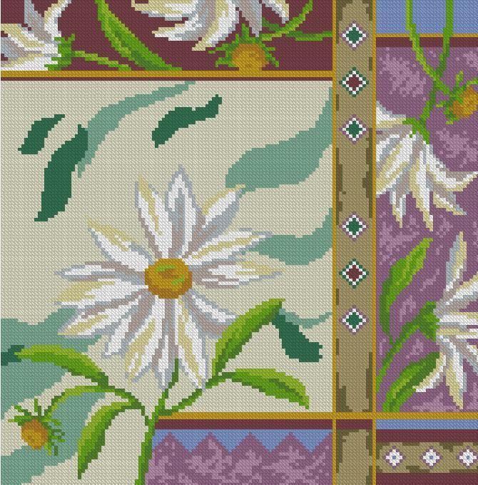 Схема вышивки крестом - Ромашки для подушки